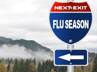 Flu season road sign